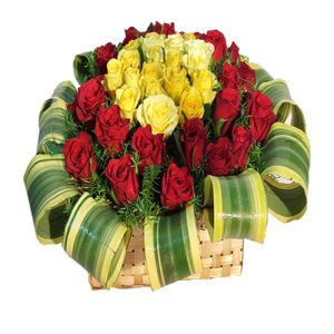 RED & YELLOW ROSE BASKET